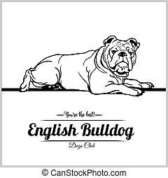 English Bulldog Dog - vector illustration for t-shirt, logo and template badges