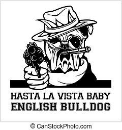 English Bulldog dog with hat, gfun and cigar - English Bulldog security. Head of security English Bulldog