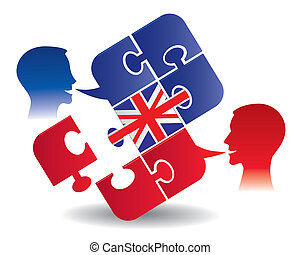 Two students and Puzzle bubble talk with a British flag symbolizing English conversation. Vector illustration.