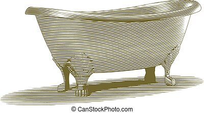 Engraved-style illustration of an old bathtub.