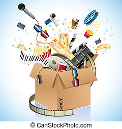 illustration of entetrainment and cinema object poping out of carton box