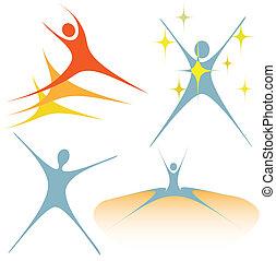 A set of symbol people design elements embody enthusiasm, activity.