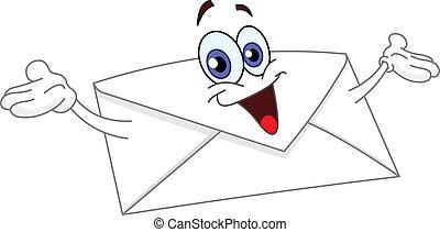 Cartoon envelope raising his hands