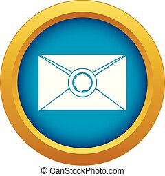 Envelope with wax seal icon blue vector isolated