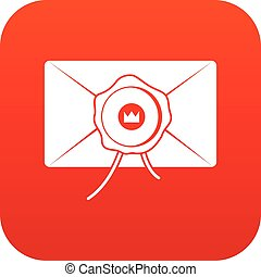 Envelope with wax seal icon digital red