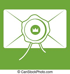 Envelope with wax seal icon green