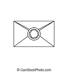 Envelope with wax seal icon, outline style