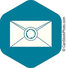 Envelope with wax seal icon, simple style