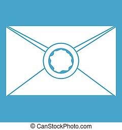 Envelope with wax seal icon white