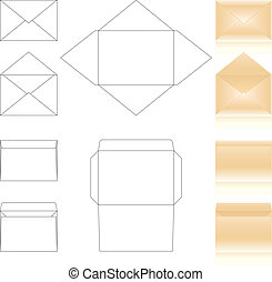 templates and schemes of envelopes. realistic beige envelopes