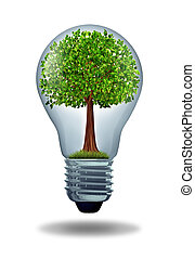 Environment and green energy ecological symbol of conservation and alternative electrical power to get off the grid and improve efficiency using battery or hybrid motor systems to conserve nature with a gree tree in a light bulb.