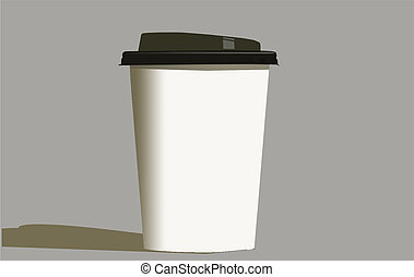 EPS Vector Paper Coffee Cup with plastic lid