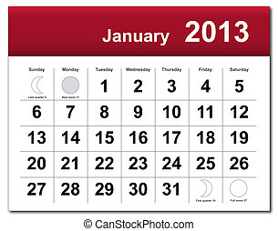EPS10 file. January 2013 calendar. The EPS file includes the version in blue, green and black in different layers