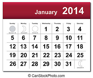 EPS10 vector file. January 2014 calendar. The EPS file includes the version in blue, green and black in different layers. Raster version available in my portfolio.