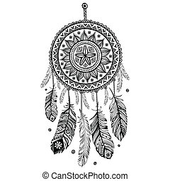 Ethnic American Indian Dream catcher can be used as a greeting card