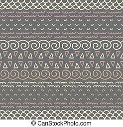Ethnic textile decorative native ornamental striped seamless pattern in vector.
