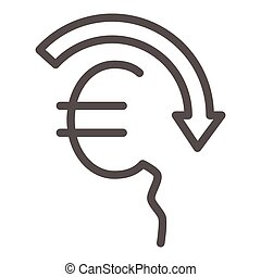 Euro rate fall line icon, economic sanctions concept, Euro depreciation sign on white background, currency with decreasing arrow icon in outline style for mobile and web. Vector graphics.