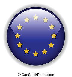 Europe EU flag button, vector