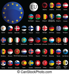 europe glossy icons collection against black