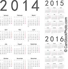 Simple european 2014, 2015, 2016 year vector calendars