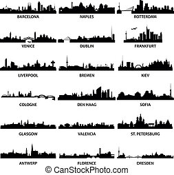 detailed illustrations of different european cities