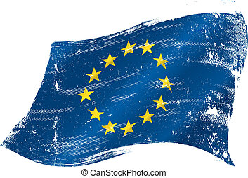 flag of Europe in the wind with a texture