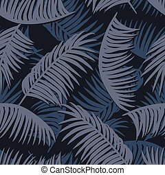 Exotic tropic jungle palm leaves seamless pattern