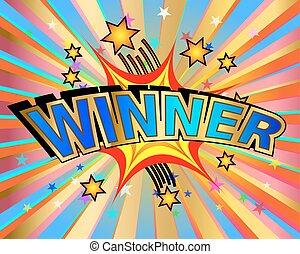 Exploding winner text colorful action vector illustration