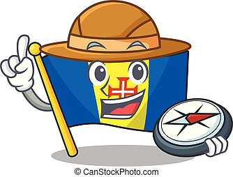 Explorer flag madeira cartoon character holding a compass