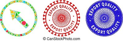 Export Quality Textured Seals and Up-Left Rounded Arrow Collage of Christmas Symbols