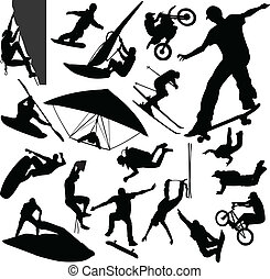 Extreme sport silhouettes - vector illustration
