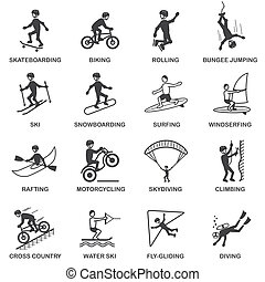 Vacation travel extreme sports icons set of skateboard snowboard skydiving and bungee jumping vector illustration
