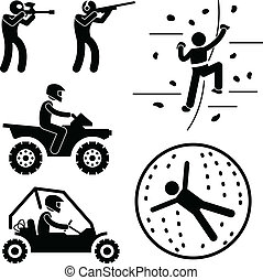 A set of people stick figure pictograms representing extreme game which includes paintball, clay shooting, rock climbing, quad biking, buggy ride, and zorb ball.