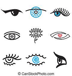 eye hand drawn stylish icons set in vector