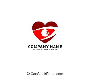 Eye heart love logo vector design