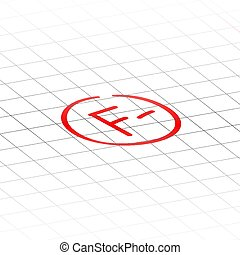 F minus examination result grade red latter mark.