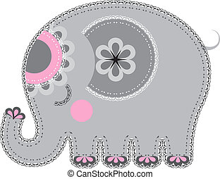 Cute animal character for your design. Various components are grouped separately