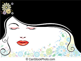 Vector file of beautiful girl and black hair.