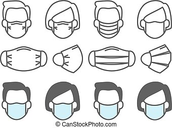 Face mask use. People medical masks icons respiratory infection inflammation and flu prevent, virus preventive protection equipment vector illustration