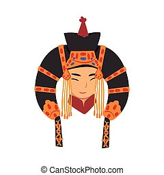 Face of Beautiful Mongol Woman, Central Asian Character in Traditional Headgear Vector Illustration