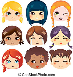 Set of nine facial expressions of cute girls from various ethnic groups