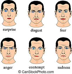 Six facial expression on male face