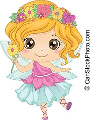 Illustration Featuring a Girl Wearing a Fairy Costume