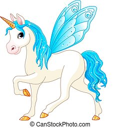 Blue Cute winged horse of Fairy Tail. (Rainbow colored horses series)