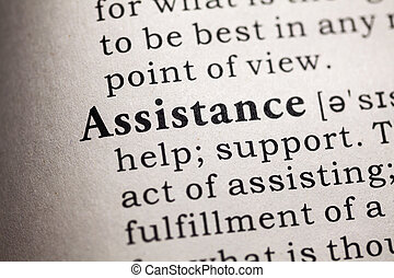 Fake Dictionary, Dictionary definition of the word assistance.