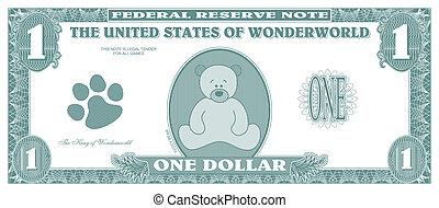 Children game money - one dollar bill - front