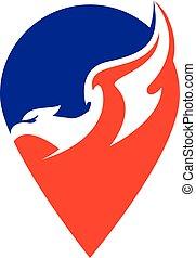 Falcon vector logo with gps pointer design.