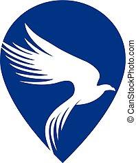 Falcon vector logo with gps pointer design