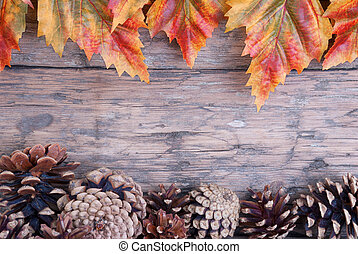 Fall Background with Frame of Autumn Leaves and Fir Cones