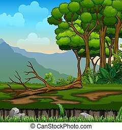 Fallen tree on a forest landscape
